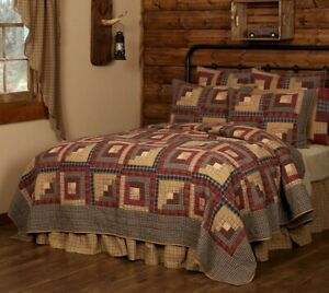 King Quilt Hand Stitched Log Cabin Patchwork Red Blue 100% Cotton Millsboro