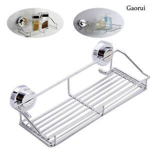 Stainless Steel Kitchen Bathroom Shower Shelf Storage Suction Basket Caddy UK