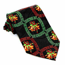 Christmas Day Mens Neck Tie Xmas Holiday Black Necktie Bells Bows Holly Gift New
