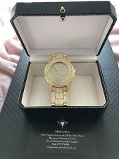 Luxury Men's Diamond Dial Quartz Gold Bracelet Watch Hiphop Bling Iced Out