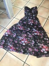 TK Maxx Ladies / Girls Long Dress Black With Pink Red Flowers Size S/M