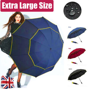 """62"""" Extra Oversize Large Compact Golf Umbrella Double Canopy Vented Windproof"""