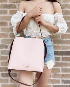 Kate Spade Darcy Large Bucket Bag Crossbody Pink Burgundy Colorblock Leather