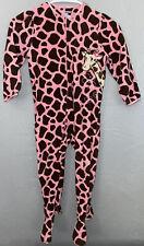 Okie Dokie Toddler Girls Footed Pajamas Size 5T Pink Brown Giraffe Print