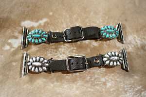 Western Apple Leather Watchband with Stones White or Turquoise