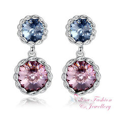 18K White Gold GF Made With Swarovski Element Double Round Cut Luxury Earrings
