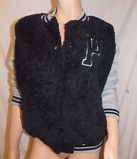 Victoria's Secret Pink NWT Solid Faux Fur Varsity Jacket Black/Gray Medium