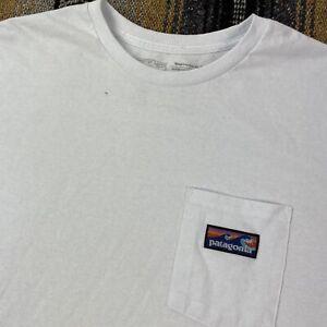 Patagonia White Short Sleeve Pocket T Shirt Box Logo Size XL With DEFECT