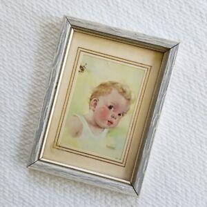 Vintage Framed Pink Cheeked Baby Boy Nursery Wall Art