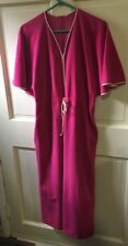Vintage Pink Velour 1/2 Zip Up Robe House dress Beach Cover Up Women's