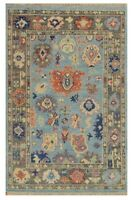 8x10 Handknotted Oushak Fine Wool Rug Colors Pink Gray Orang Yellow Blue1/2' pi