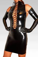 Latex Kleid Hoher Hals Schnürung & Reissverschluß Rubber Cording & Zip XS-XXL#A1