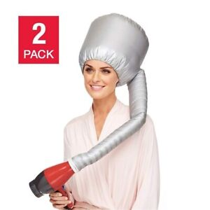 2 Hair Drying Styling Soft Cap Bonnet Hood Hat Blow Hair Dryer Attachment Silver