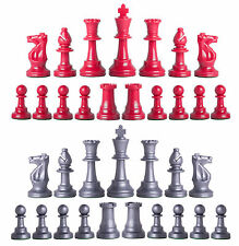 Staunton Single Weight Chess Pieces - Set of 34 Red & Silver - 4 Queens