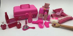 Barbie DOLL BEAUTY LOT - CABOODLE MAKEUP CASE BOTTLES DIORAMA ADORABLE PINK