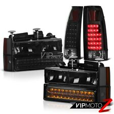 Black LED Rear Tail Lights Brake Bumper Signal Corner Headlight Lamp Chevy Truck