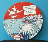 VINTAGE ESSO GASOLINE PORCELAIN DR SEUSS SERVICE STATION PUMP PLATE SIGN