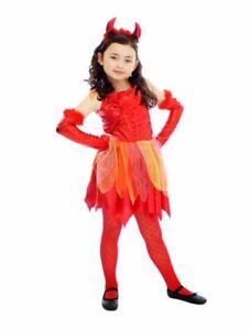Girls Fiery Devil Fancy Dress Costume Demon Childrens Halloween Outfit