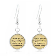 Buddha quote glass Earrings Art Photo Tibet silver Earring Jewelry #71