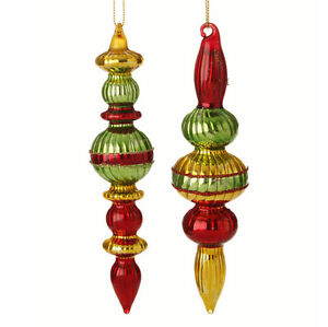 Set 2 NWT RAZ Red Gold Green Ribbed Mercury Glass Finial CHRISTMAS Ornaments