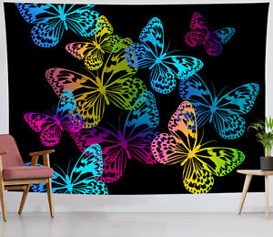 Colorful Butterfly Tapestry Black Background Wall Hanging Living Room Bedroom