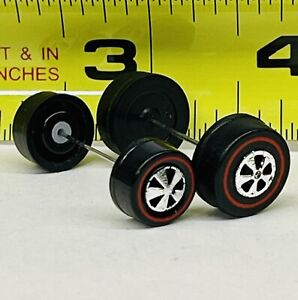 Hot Wheels Redline (REAR CAPPED AXLES +WHEELS)~1 MEDIUM BEARING STYLE WHEELS