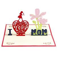 Mother's Day Birthday 3D Pop Up Greeting Card Thank You Card I Love Mom Gift