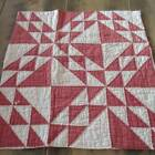 Last One Christmas Perfect Prim Ocean Waves RED & White Cutter QUILT Piece 22x21