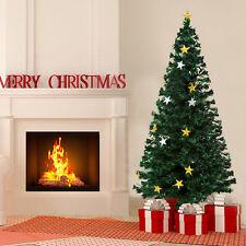 HomCom Árbol de Navidad de Fibra Óptica con 28 Luces - Verde