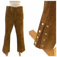 Vintage VTG 1970s 70s Brown Suede Boho Pants Trousers