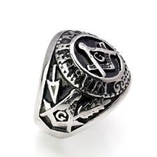 Stainless Steel Masonic Signet Ring Unisex Sizes N To Z+5