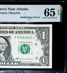 GEM *STAR* $1 FEDERAL RESERVE NOTE-SOLID STAR ERROR- PMG #65 EPQ GEM UNC