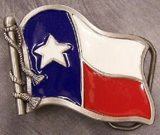 Pewter Belt Buckle Texas State Flag Unfurled NEW