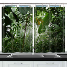 Tropical jungle leaves Decor Window Drapes Kitchen Curtains 2 Panels Set 55x39""