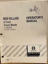 New Holland 5 Foot Front Blade 716800006 For Mc Tractors Operators Manual