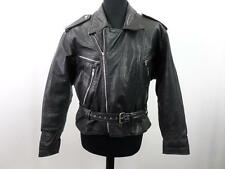 """Vintage Real Leather Biker Jacket Mens Size 44"""" Black Grade A Z559"""