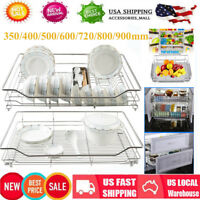 New Kitchen Cabinet Pull-Out Chrome Wire Basket Cookware Organizer Storage Rack