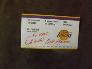 Bill Sharman Los Angeles Lakers Autographed Business Card
