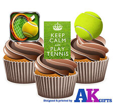 12 Tennis Edible Cup Cake Toppers Wafer Stand Ups Keep Calm and Play Tennis Mix