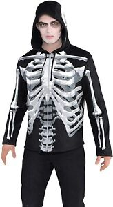Black & Bone Men's Skeleton Hoodie Sweat Shirt Adult Size only Tu Fancy Costumes