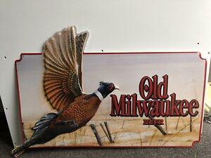 Vintage Large Old Milwaukee Metal Embossed Beer Sign Pheasant Hunting 1992