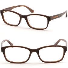 Rectangular Acetate Plastic Men Women Frame Prescription Glasses Lens Dark Brown