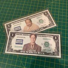 TWO PACK Novelty Dollar Bills One Stanley Nickel + One Schrute Buck