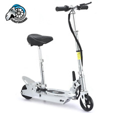 Kids Electric E Scooter Silver Ride On Battery Operated Adjustable Height Seat