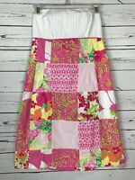 Lilly Pulitzer Pink White Floral Patchwork Strapless Party Dress Women's Size 6