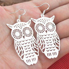 Women Fashion Jewelry Silver Plated Hollow Owl Drop Dangle Hook Earrings Chic