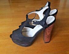 Scarpe donna girl colore nero modello sandalo con plato legno elegante mis.38