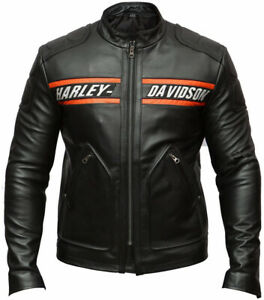 Men's HD Bill Goldberg cafe Racer Motorcycle Distressed Moto Leather Jacket New