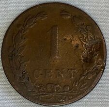 1901 Netherlands ONE 1 Cent CARDED Coin, ANTIQUE, Shows Wear, Price Reduced