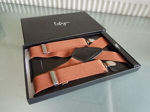 Mens Lafayon Trousers Braces / Suspenders ~ 4 Buckle ~ Tan Brown ~ New in Box